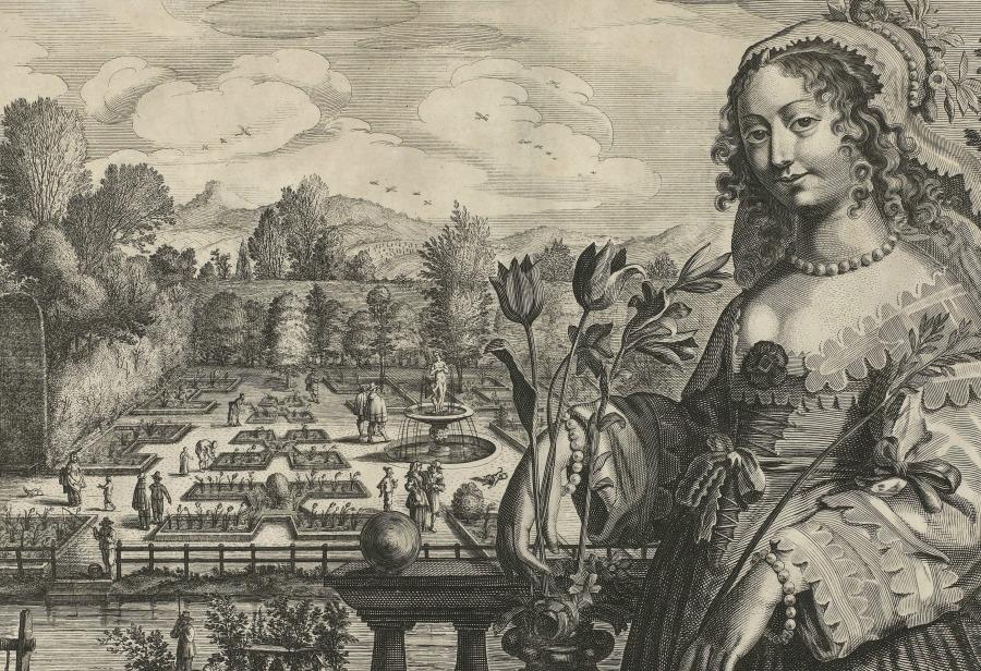 Grabado del siglo XVII representando un jardín con tulipanes