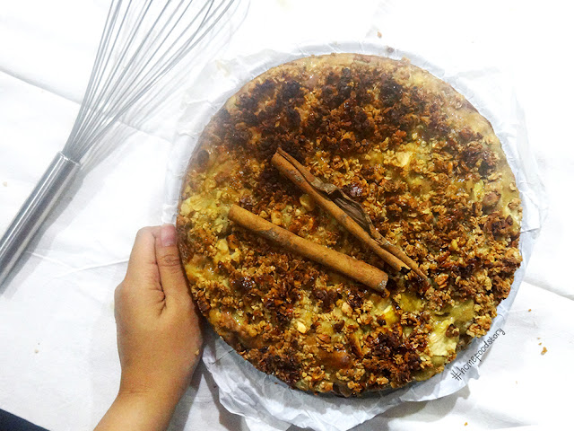 No Sugar, Low Fat, Fruit and Nuts Crumble Cake || homefoodstory.blogspot.com