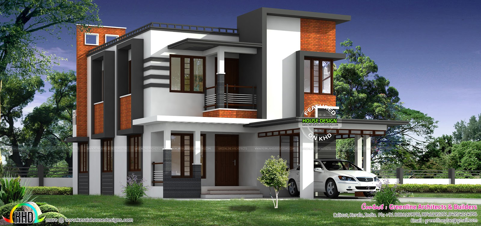 1800 sq ft nice modern house kerala home design and for Nice modern house plans