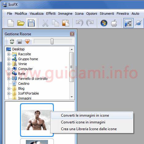 ICOFX opzione Converti le immagini in icone