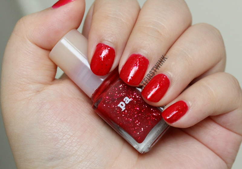 Pa Nail Color A81 nail polish red jelly glossy gold fuchsia pink red glitters whole hand