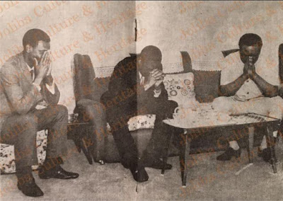 Historical photo of Yakubu Gowon, Nnamdi Azikiwe praying for peace during the civil war