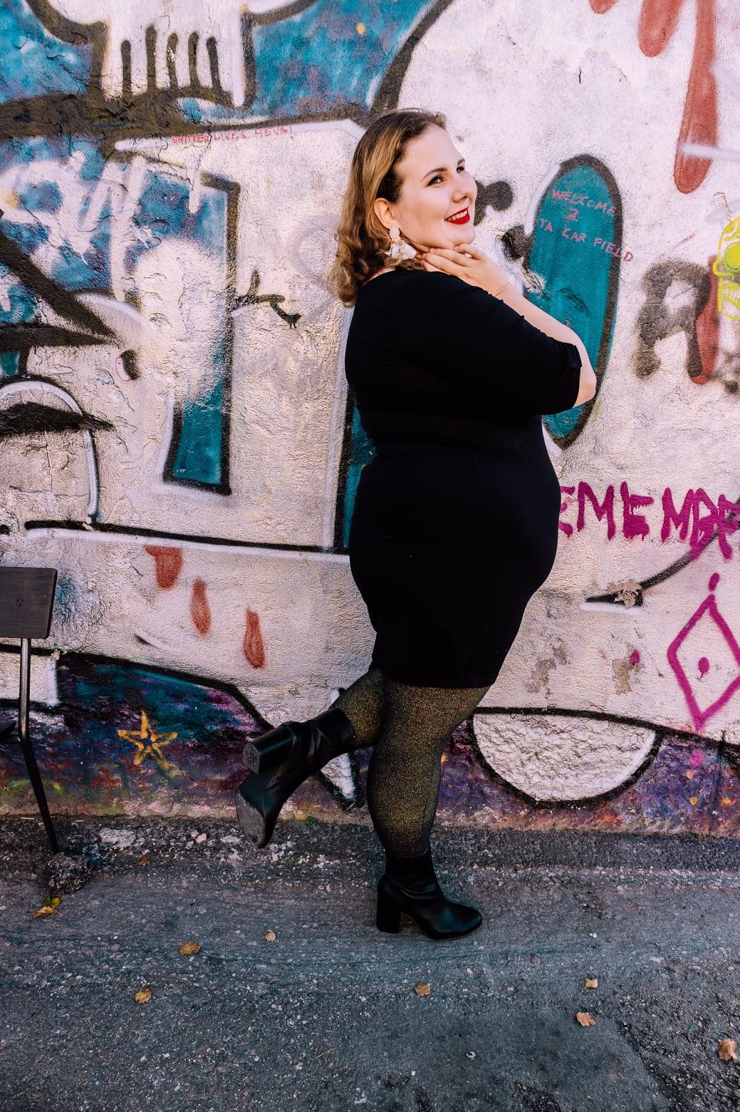 graffitti, Suvilahti, musta mekko, glitterlegginssit, Zadaa, second hand