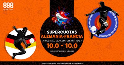 888sport bienvenida 150 euros + supercuota 10 gana Alemania o Francia 7 julio
