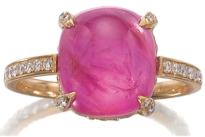 Pink sapphire and diamond ring by Michele della Valle. Via Diamonds in the Library.