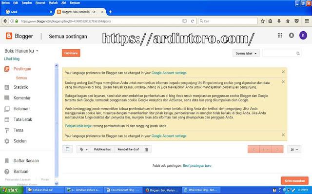 Panduan Membuat Blog Geratisan (Blogger.com) di lengkapi Gambar Terbaru