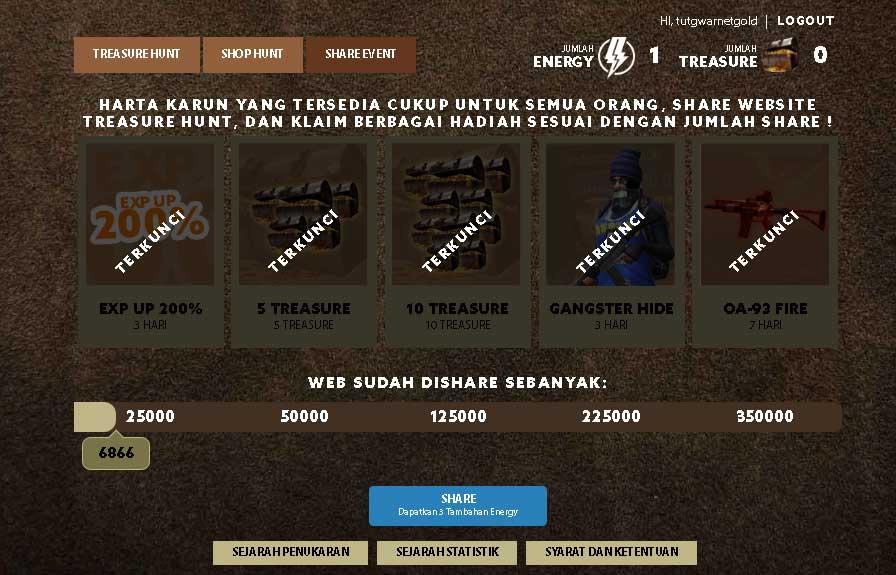Cara Mengikuti, Hadiah dan Syarat Event PB Garena Treasure Hunt Cari Harta Karun
