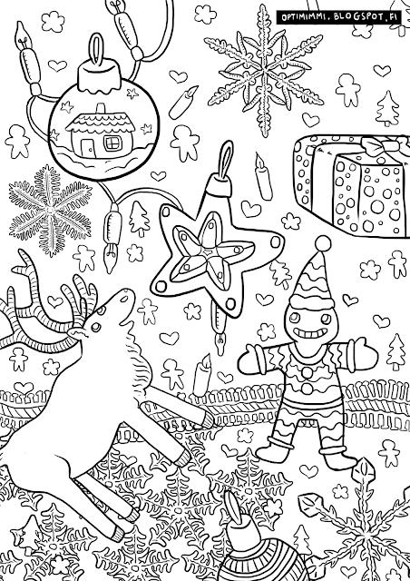 A coloring page of Christmas / Värityskuva joulusta