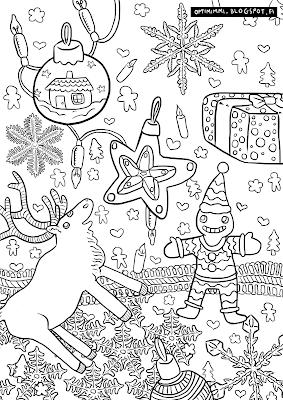 A coloring page of Christmassy themes / Värityskuva jouluisista teemoista