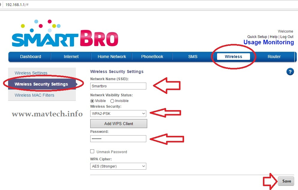how to put password on wifi router smart bro
