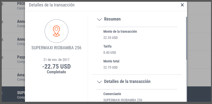 Payoneer costos Supermercados Ecuador