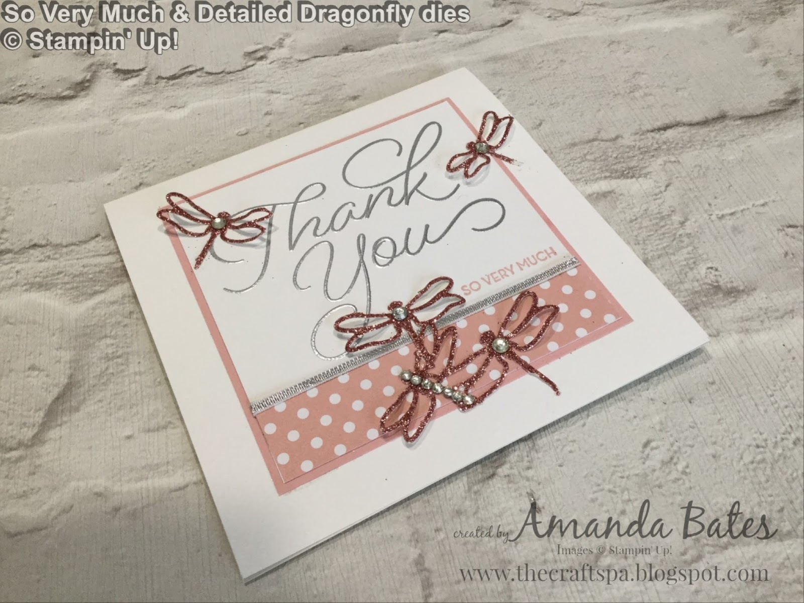 The craft spa stampin up uk independent demonstrator dragonflies cut from blushing bride glimmer paper using the detailed dragonflies dies and then 2 top and bottom carefully scissor cut off the set of 5 jeuxipadfo Gallery