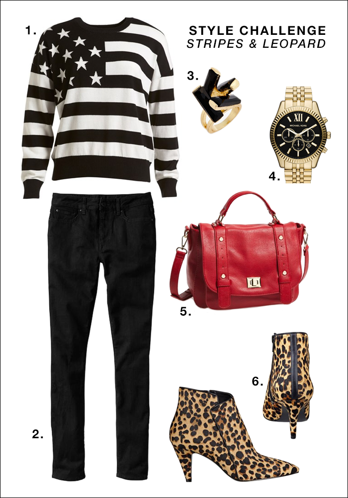 striped tee, leopard boots, red purse, black jeans, what to wear fall
