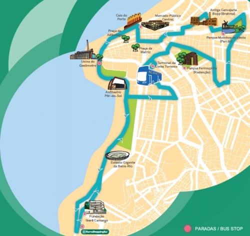 mapa do roteiro da Linha Turismo roteiro centro