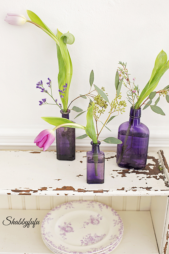 vintage purple glass bottle