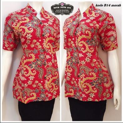 Model Baju Kemeja Batik Wanita Motif Bunga Terbaru