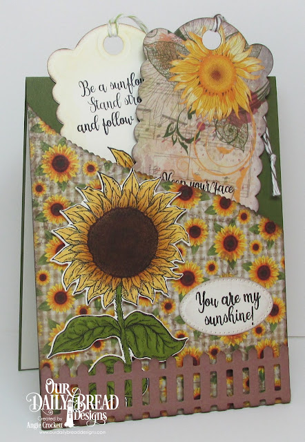 ODBD Be A Sunflower, ODBD Custom Sunflower Die, ODBD Custom Bookmarks Dies, ODBD Follow the Son Paper Collection, ODBD Custom Fence Die, ODBD Custom Leafy Edged Borders Dies, Card Designer Angie Crockett