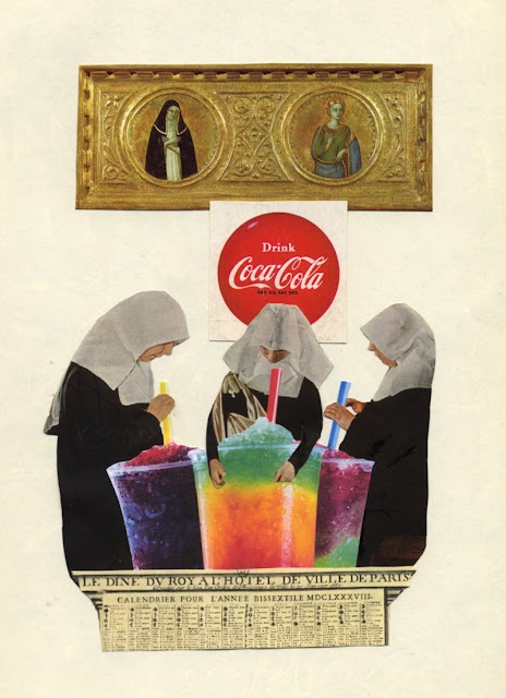 Recent collages -- Holy Slurpees, space confession, more