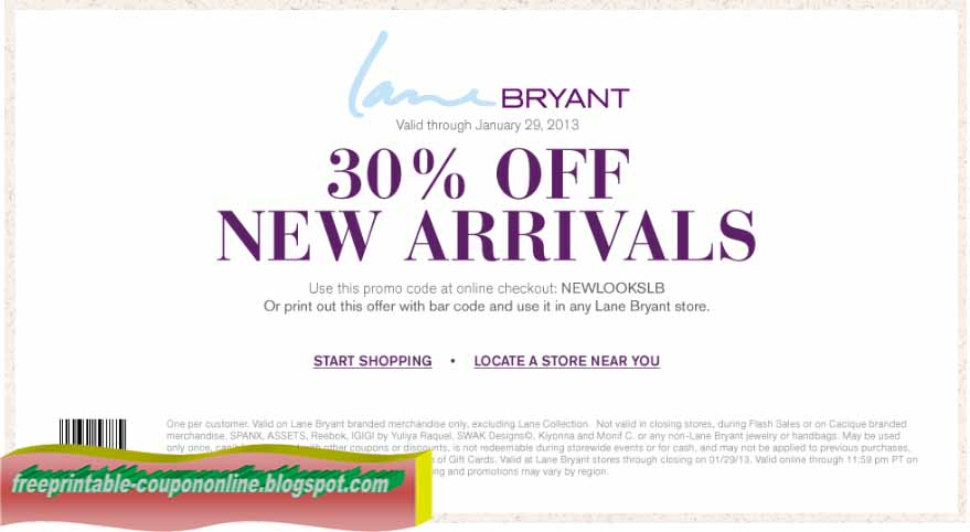 Lane Bryant coupons are available for both in-store and online shoppers with discounts ranging from 20 percent to 50 percent. SHOPPING GUIDE Coupon policy: To redeem an in-store coupon, present the coupon to the cashier in either printable or mobile form.