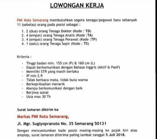 Pengumuman Lowongan Pekerjaan Karir Di Pmi Kota Semarang Tahun 2018