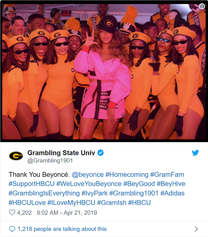 Grambling University tweets its excitment as dance team and band shell-shocked to perform with Beyoncé at private Coachella event