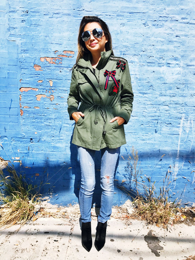 How to Style a Cargo Jacket, Cargo Jacket Style Steal, Cargo Embroidered Jacket