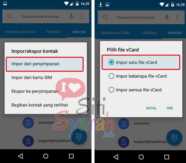 restore kontak di android