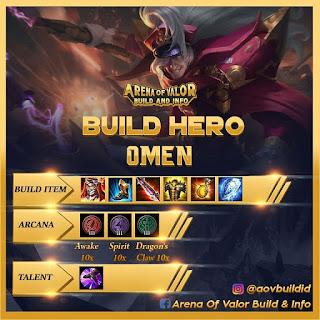 Item build, arcana, dan talent untuk omen