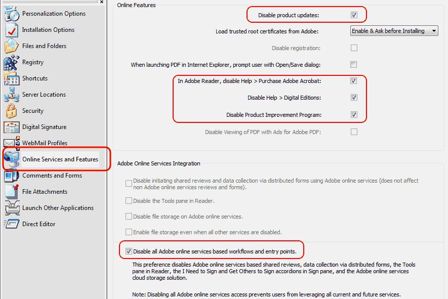Adobe Customization Wizard XI - Servizi on-line