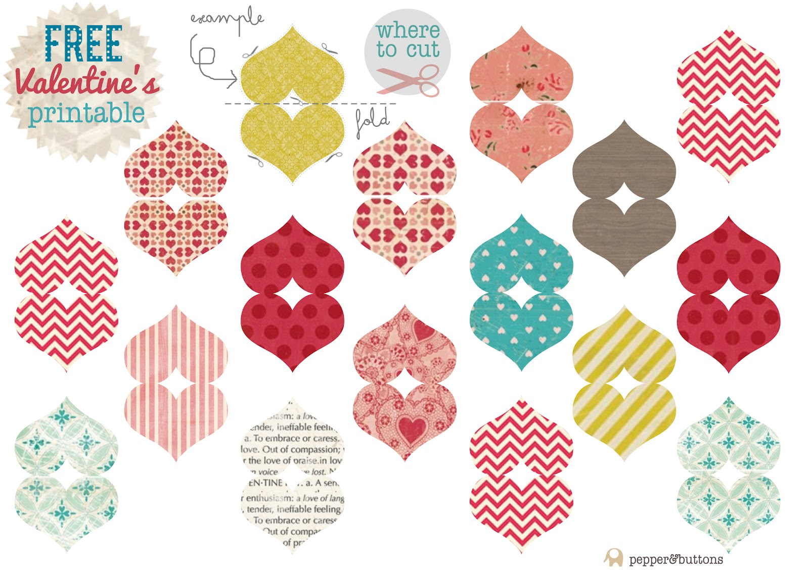 Pepper and Buttons: {Free Printable} DIY Heart Toppers