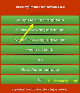 Manage SMS/ text messages rules par click kare