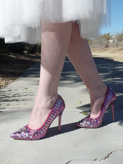 pink glitter heels with a tulle skirt