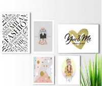 Kit 5 quadros decorativos Bicho Fashion