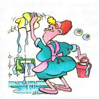 dibujo, mujer limpia el baña