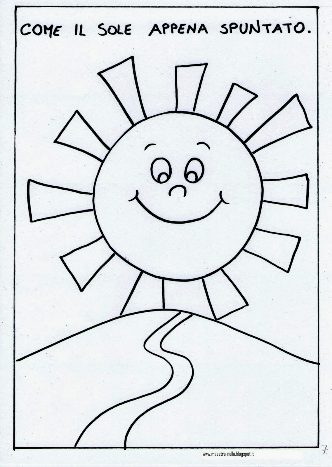 Maestra nella il colore giallo for Sole disegno da colorare