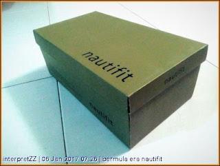 gambar kotak kasut Nautifit yang dibeli di AEON Mall Kota Bharu pada 1 Januari 2016