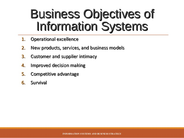 strategic business objectives of information system