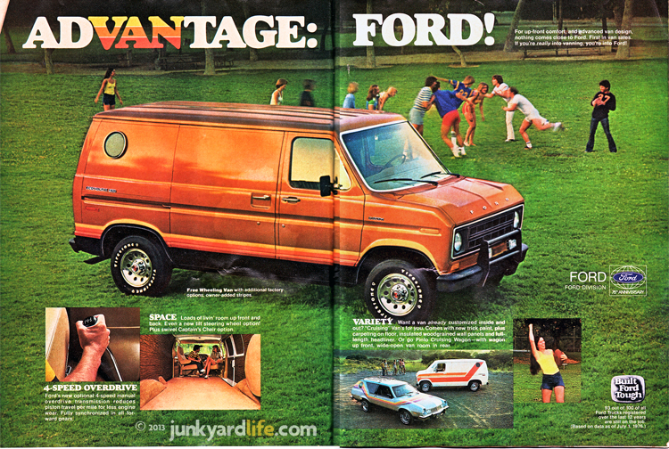 1977 Ford van ad features custom van.