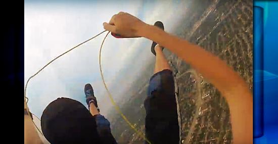 Momento aterrorizante: paraquedas não fica enroscado e não abre