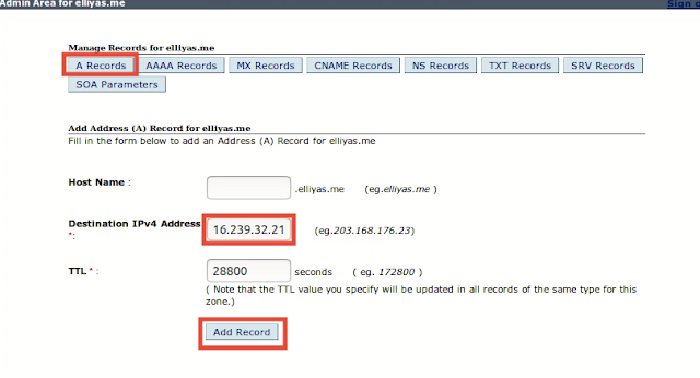 Add A Records on Domain Control Panel