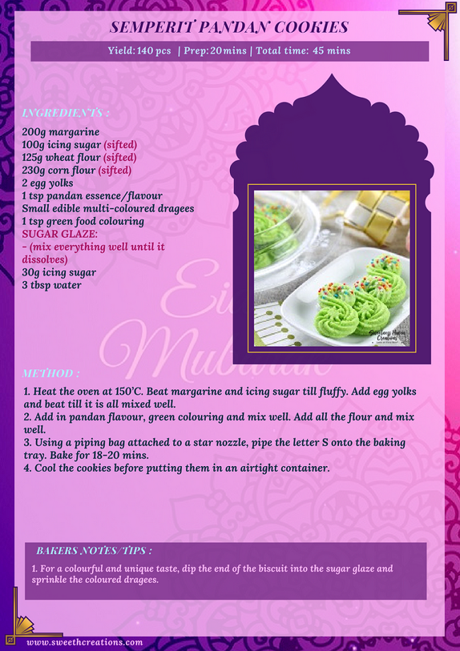 SEMPERIT PANDAN COOKIES RECIPE