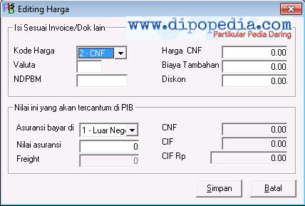 Ilustrasi 3 Pilihan Jenis Kode Harga Pada Pemberitahuan Impor Barang CNF CFR - Dipopedia
