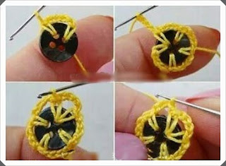 Tığ işi Düğmeli Çiçek Motifi Yapımı, Resimli Açıklamalı  2