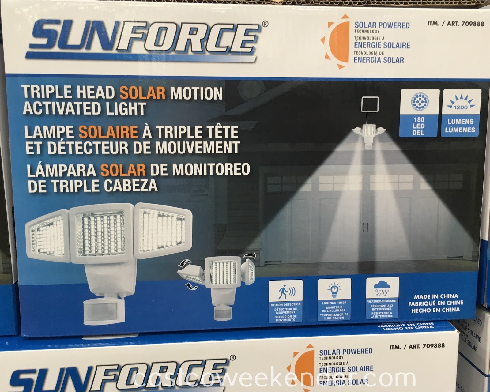 If security is a concern, then check out the SunForce Triple Head Solar Motion Activated Light