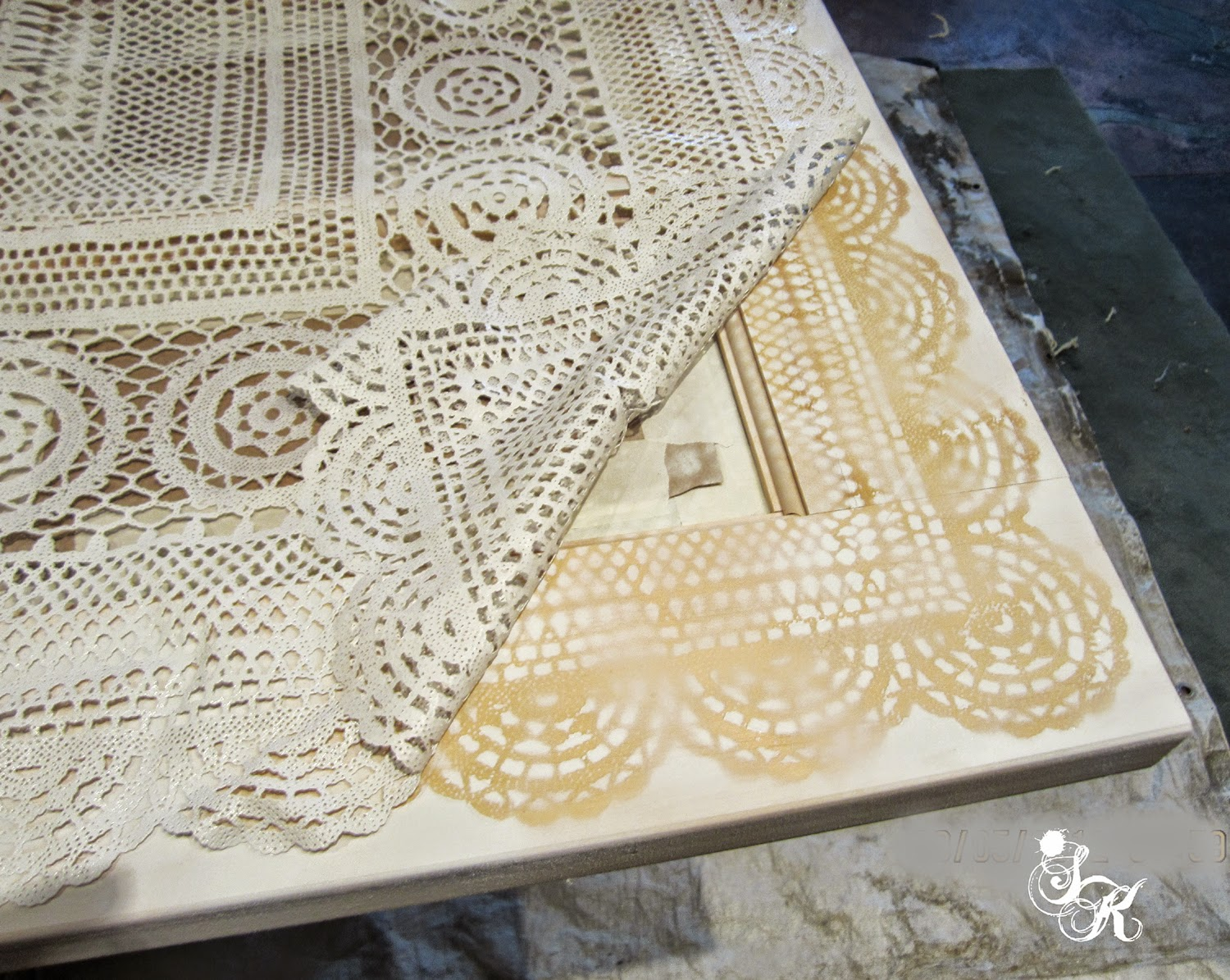I Spray Painted The Lace With White Enamel.