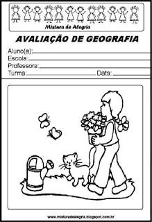 Capa para avaliação de geografia