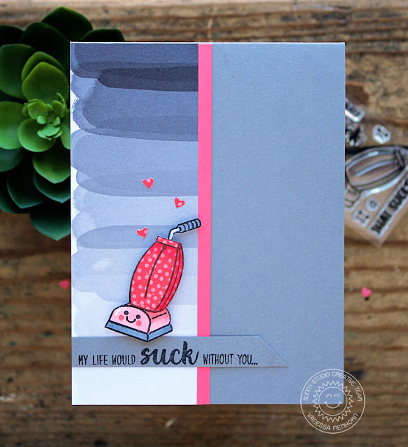 Sunny Studio Stamps: That Sucks Polka Dot Vacuum Card by Vaness Menhorn