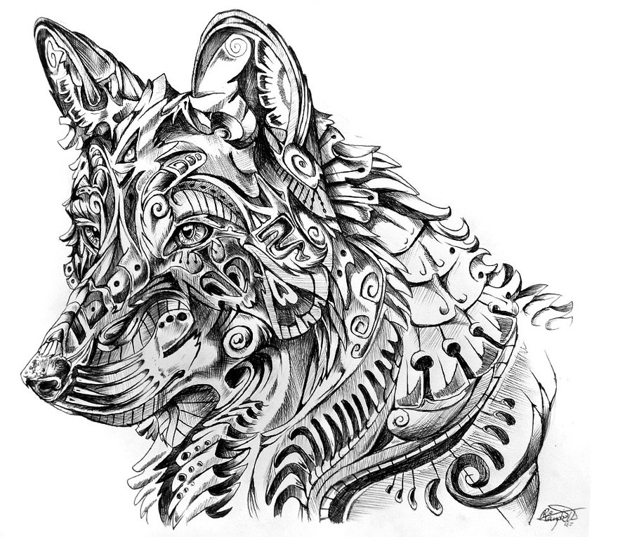 12-Mexican-Wolf-René-Campbell-Art-in-Animal-Doodle-Drawings-www-designstack-co