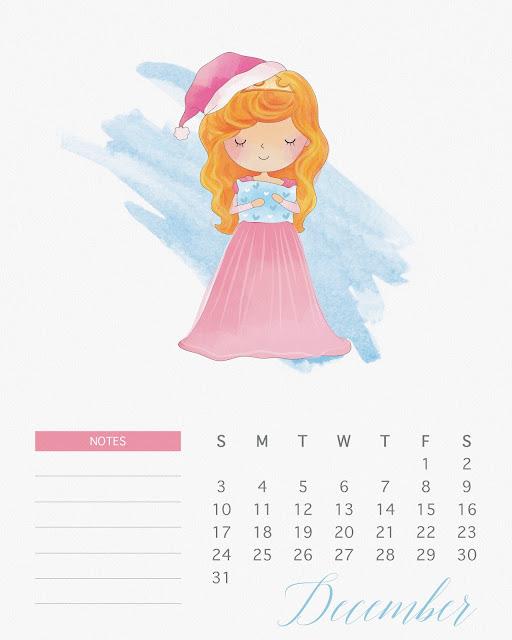 Calendario 2017 de las Princesas Disney para Imprimir Gratis  Diciembre.
