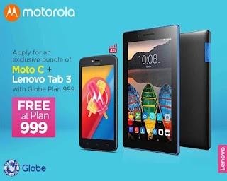 Moto C (4G) + Lenovo Tab 3 Essential Free at Globe Plan 999